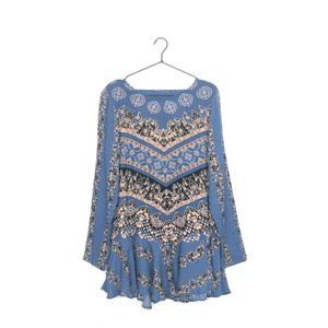 Free People Smooth Talker Tunic Top Dress, Blue, Women's Small, Cutout Open Back